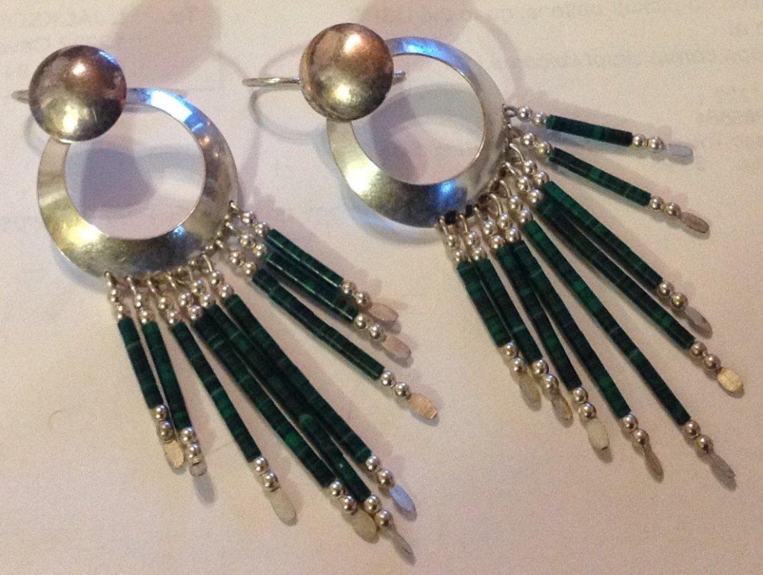 Estate vintage native sterling malachite earrings