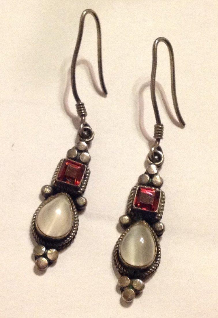Estate vintage sterling silver moonstone earrings