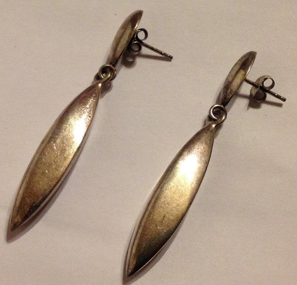 Estate vintage sterling silver modernist earrings