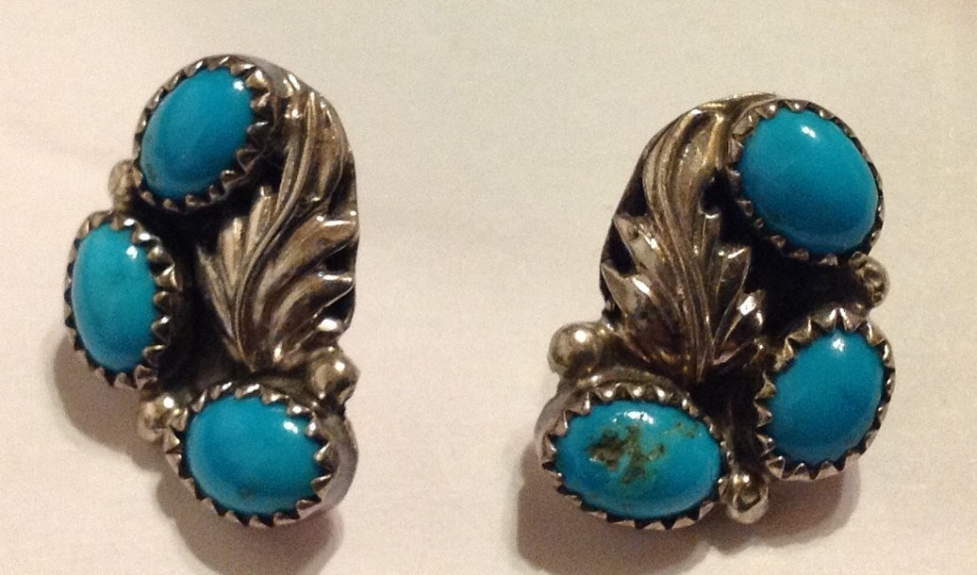 Estate vintage Navajo Sterling turquoise earrings