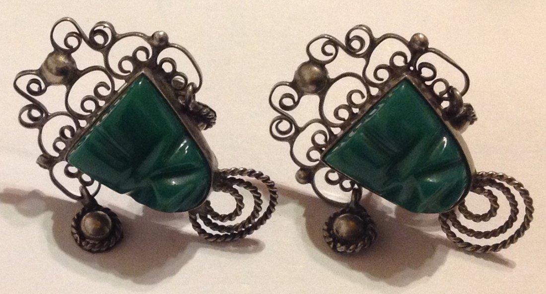 Estate vintage Mexico Sterling green onyx earrings