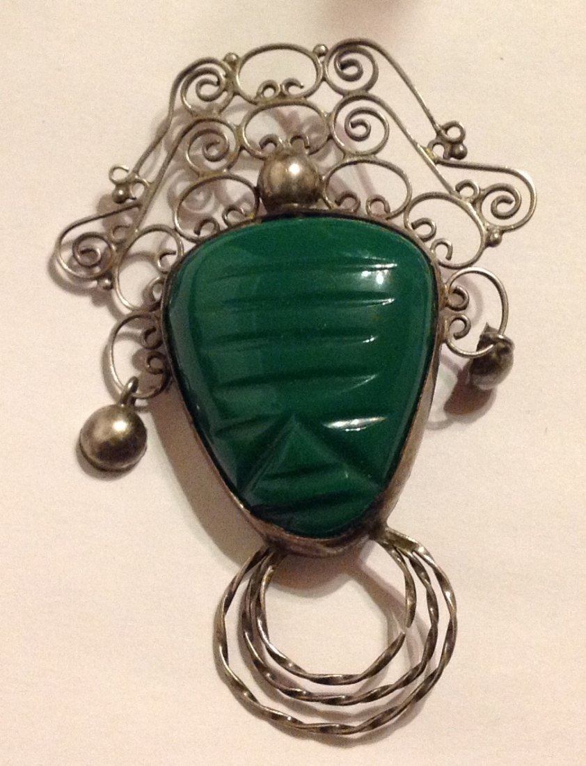 Estate vintage Mexico Sterling green onyx brooch