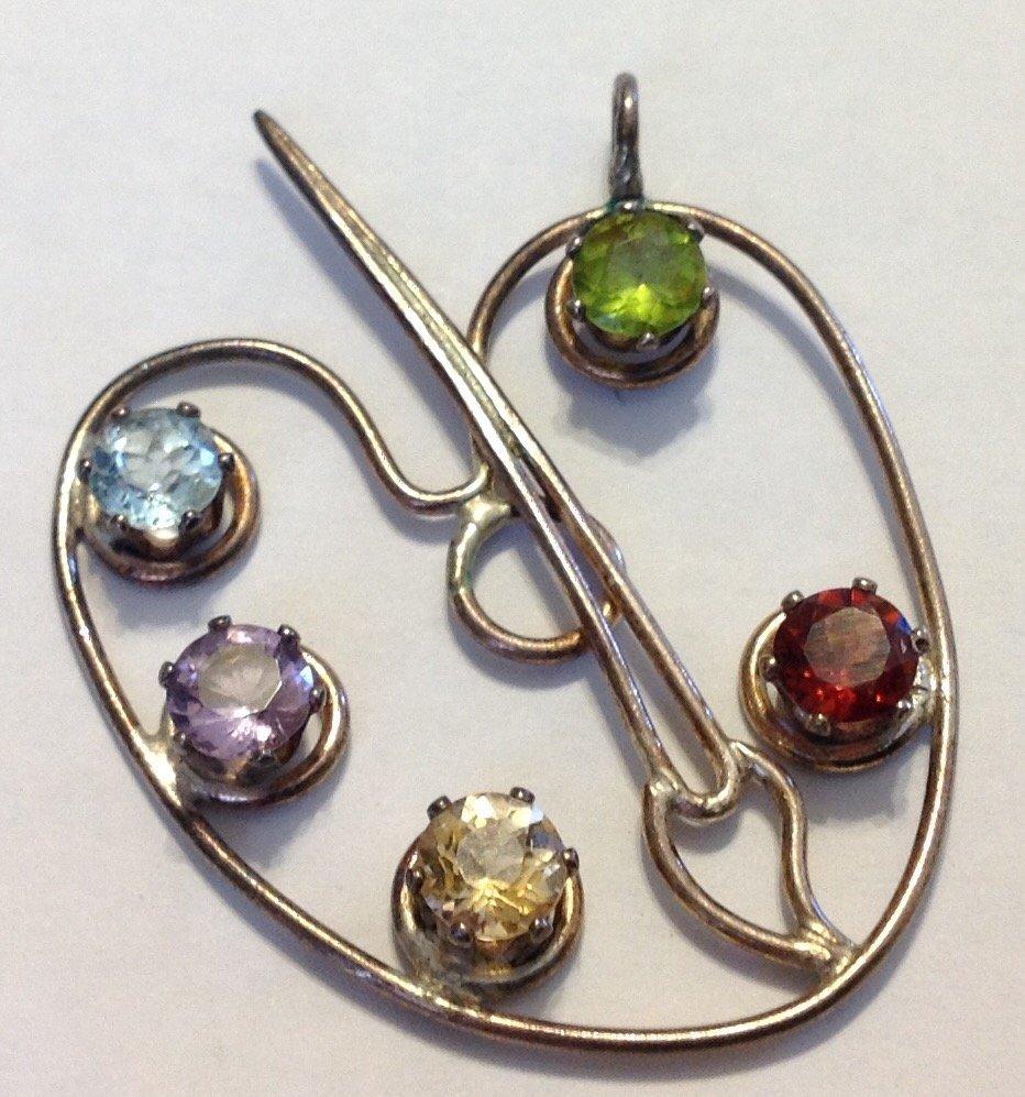 Estate vintage Sterling Multi gemstone palet pendant