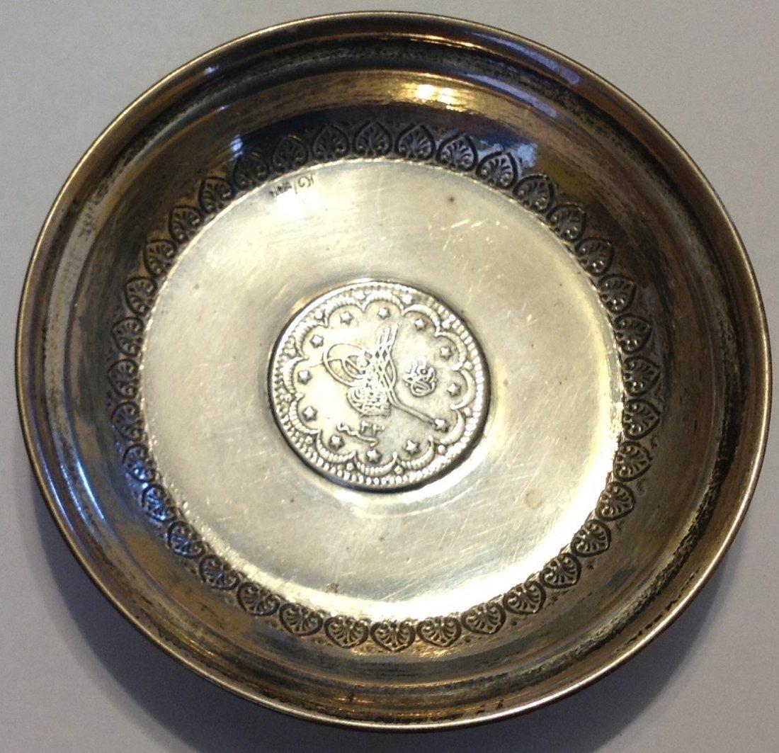 Estate antique Sterling 1293 Ottoman silver coin dish