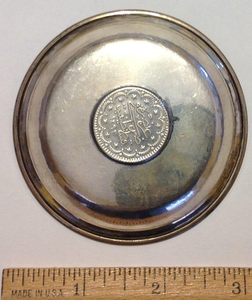 Estate antique Sterling 1293 Ottoman silver coin dish - 2