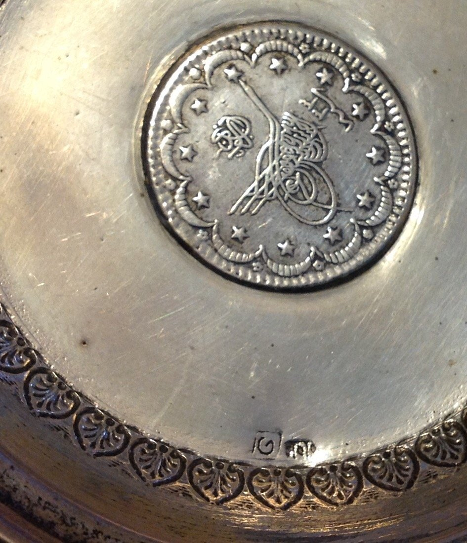 Estate antique Sterling 1293 Ottoman silver coin dish - 3