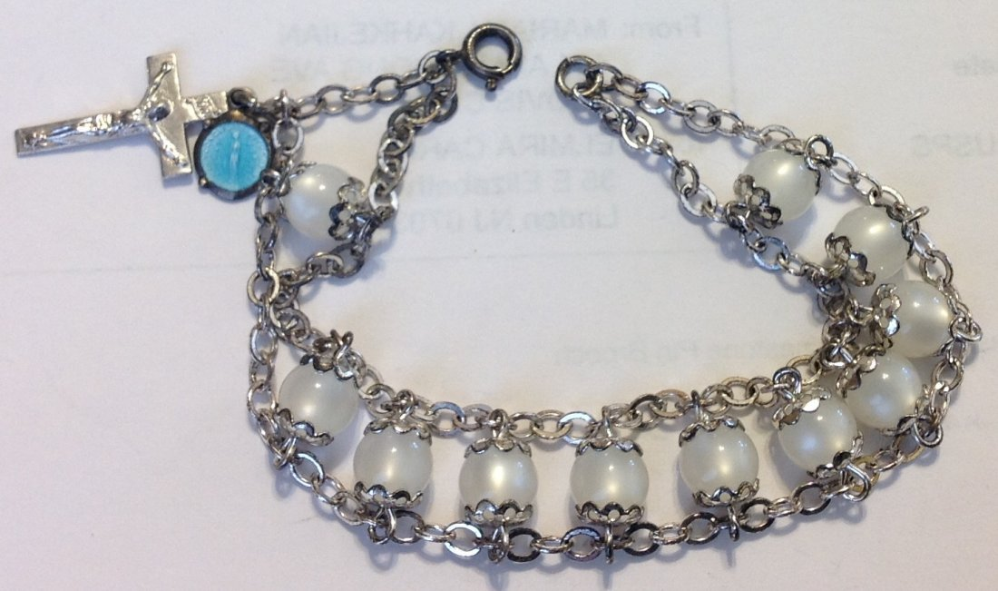 Estate vintage sterling silver religious charm bracelet