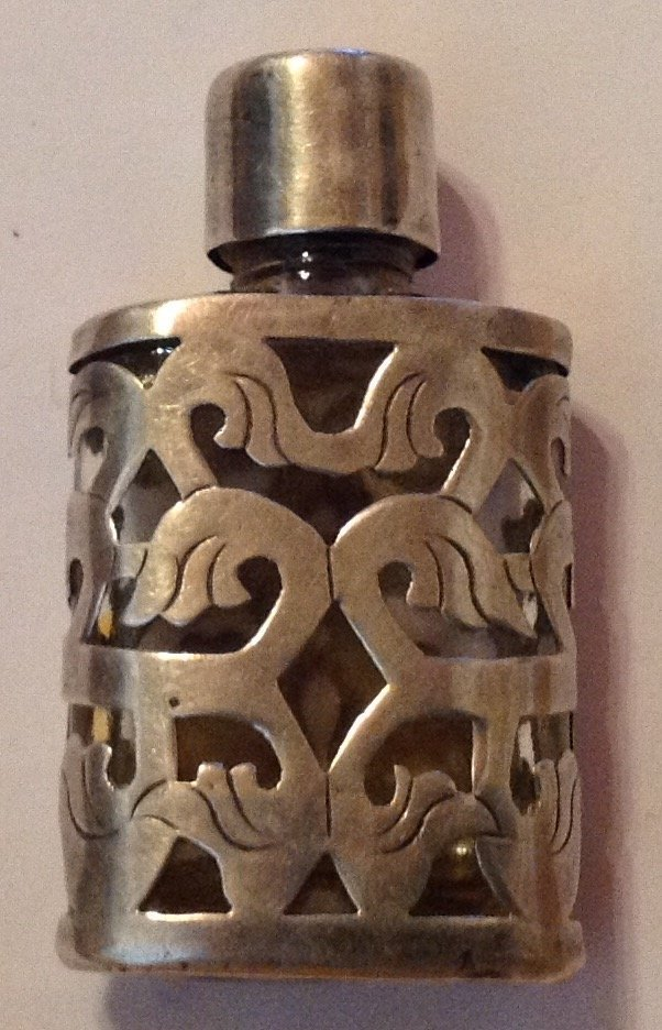 Estate old Sterling Mexico scrolled perfume bottle