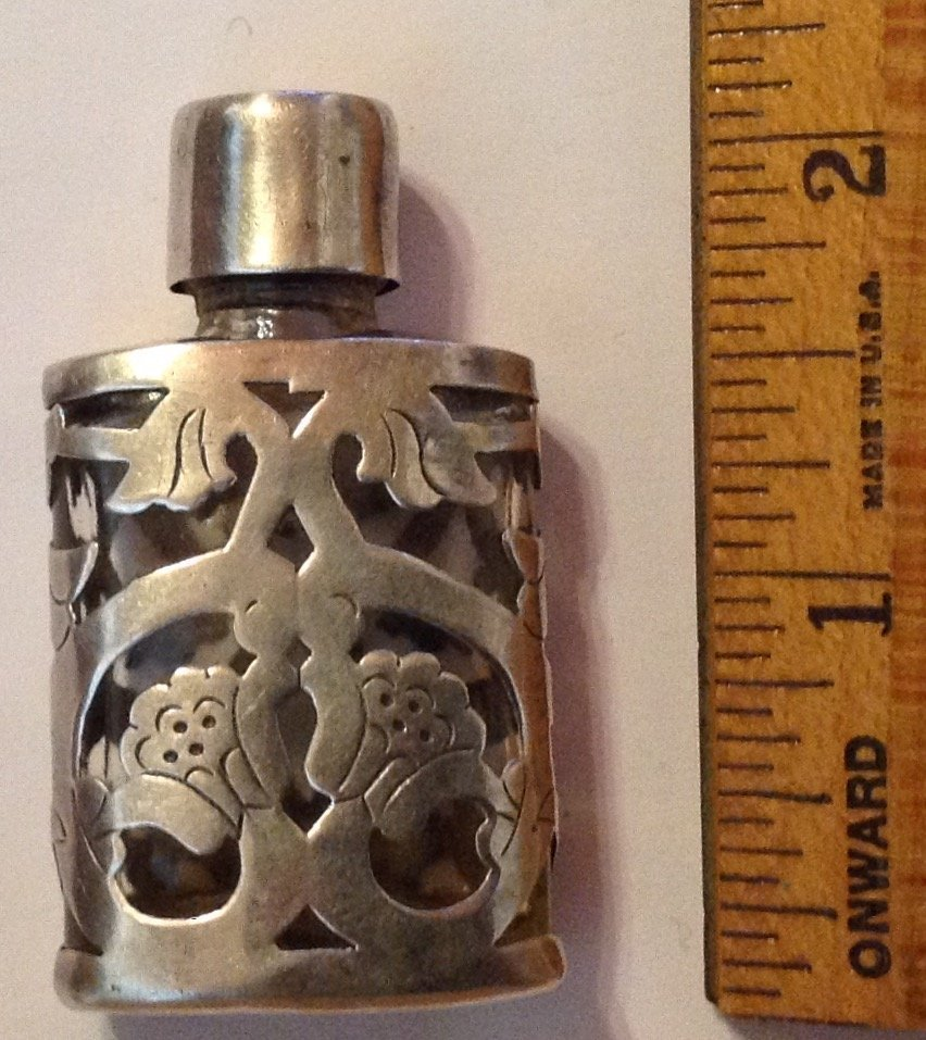Estate old Sterling Mexico scrolled perfume bottle - 2