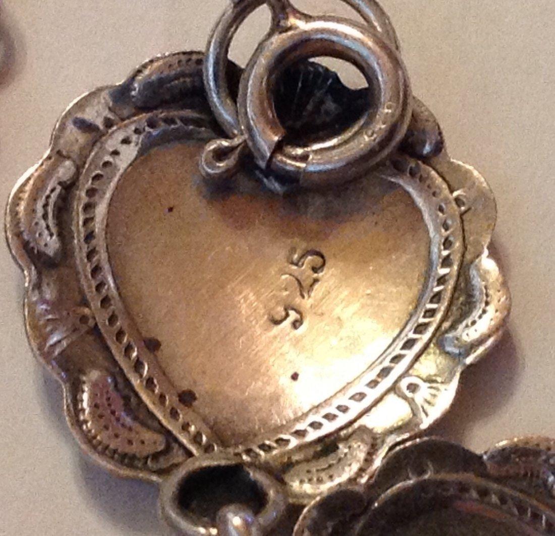 Estate old Sterling silver hearts link bracelet - 3
