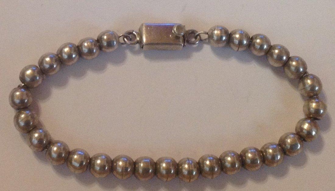 Estate Mexico Sterling silver ball bead bracelet