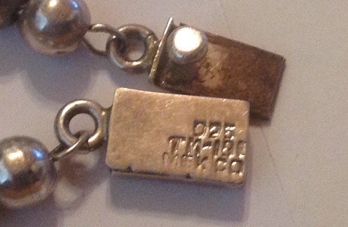 Estate Mexico Sterling silver ball bead bracelet - 3