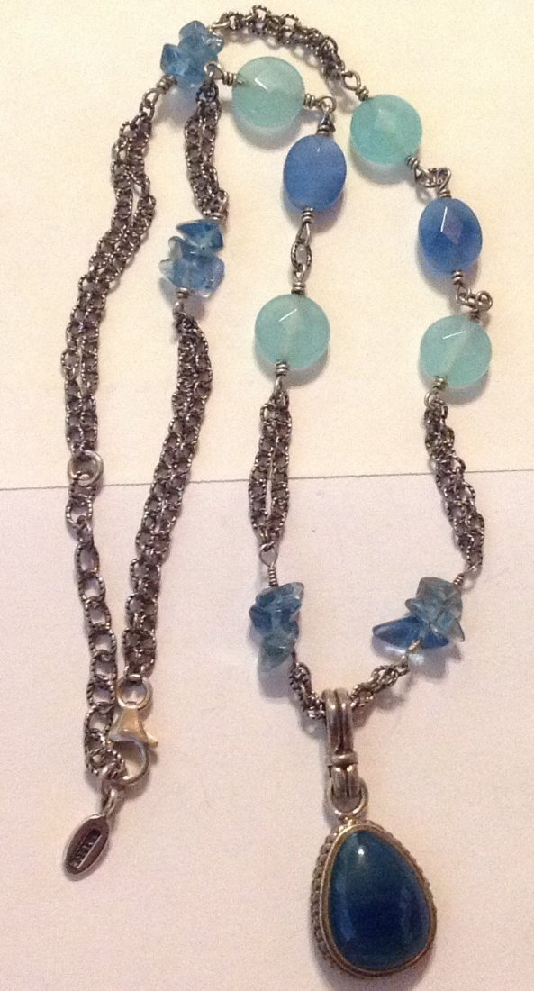 Estate Barse Sterling silver agate chalcedony necklace