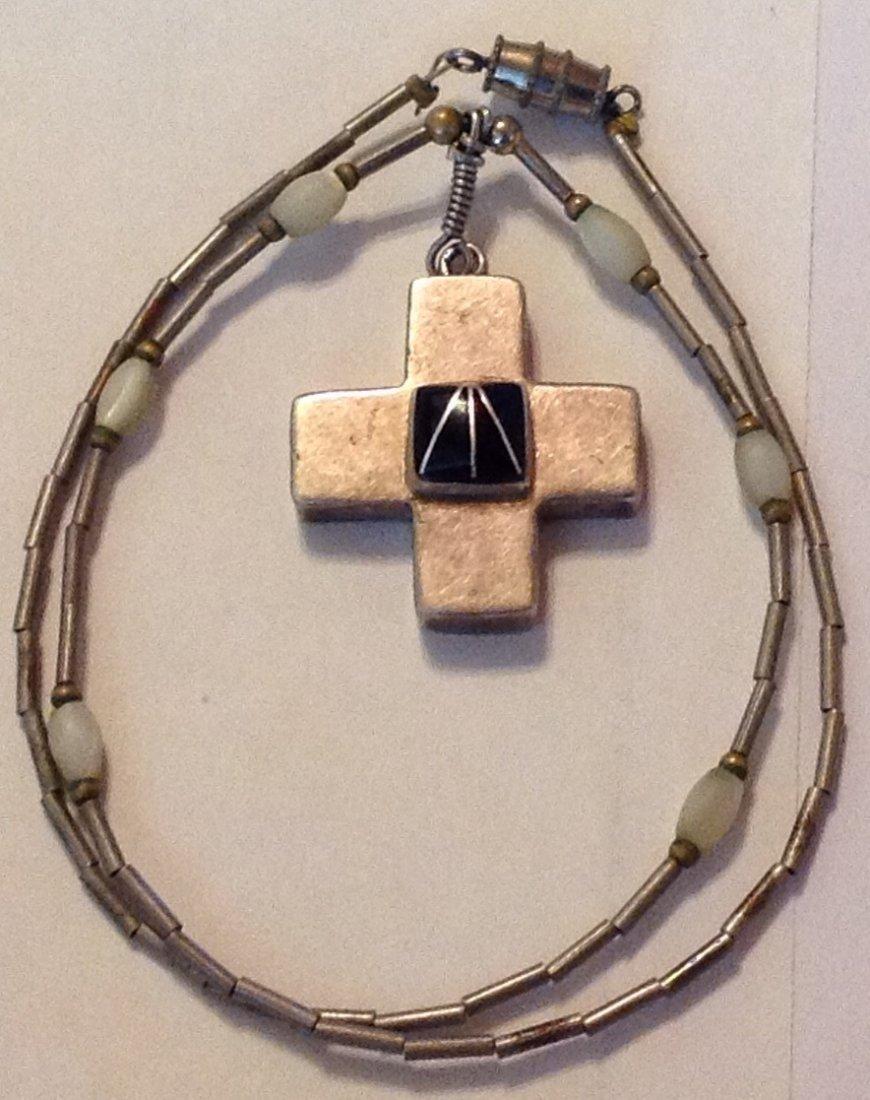 Estate vintage Mexico sterling onyx cross pendant