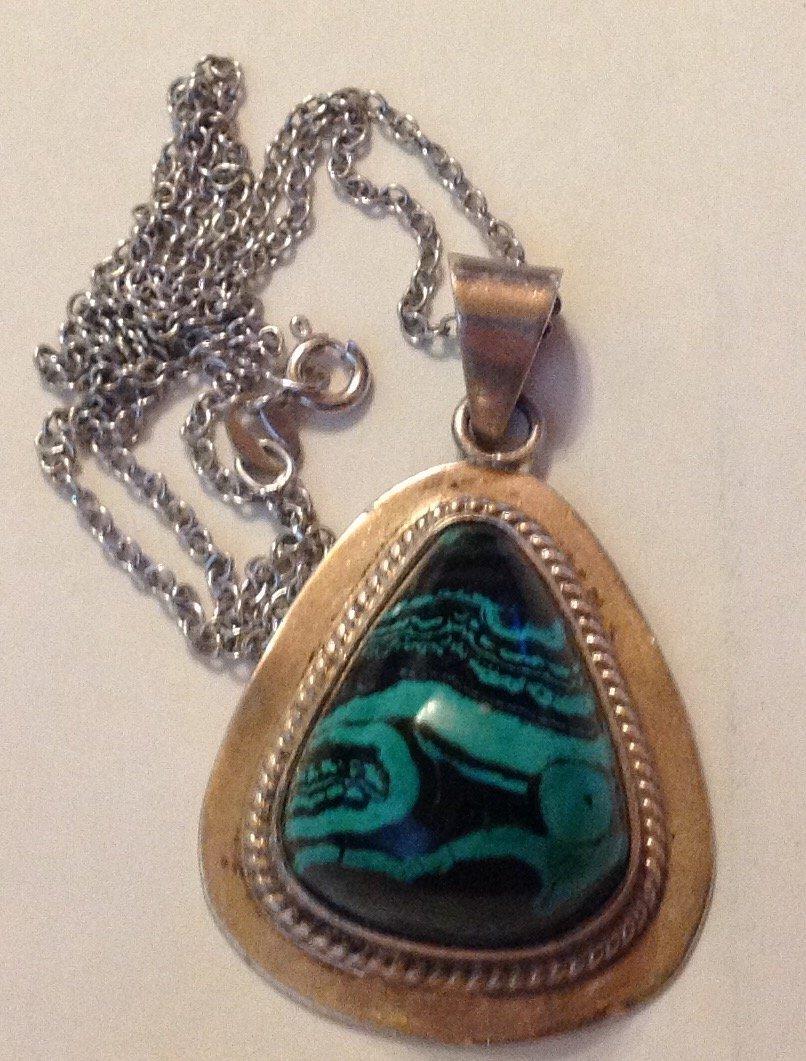 Estate vintage AIS sterling turquoise pendant necklace