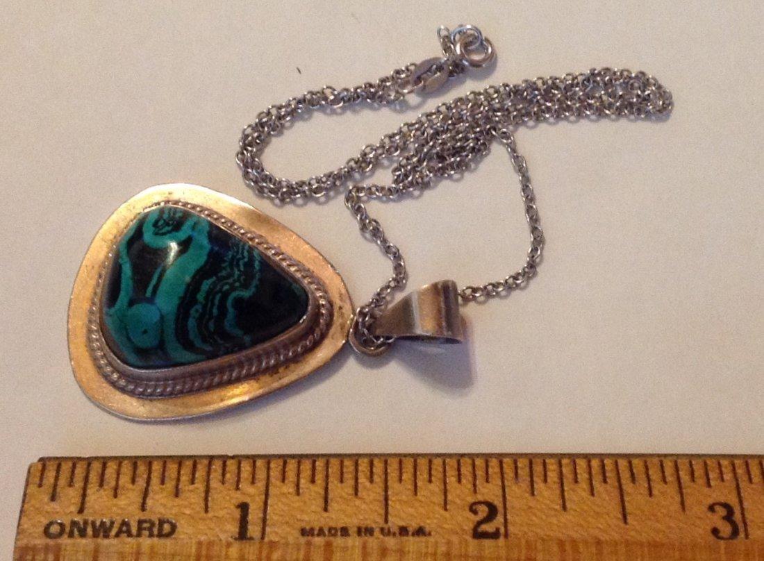 Estate vintage AIS sterling turquoise pendant necklace - 2