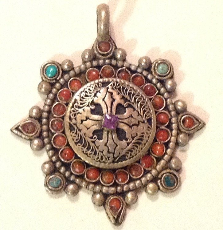 Estate Antique Mexico sterling turquoise coral pendant