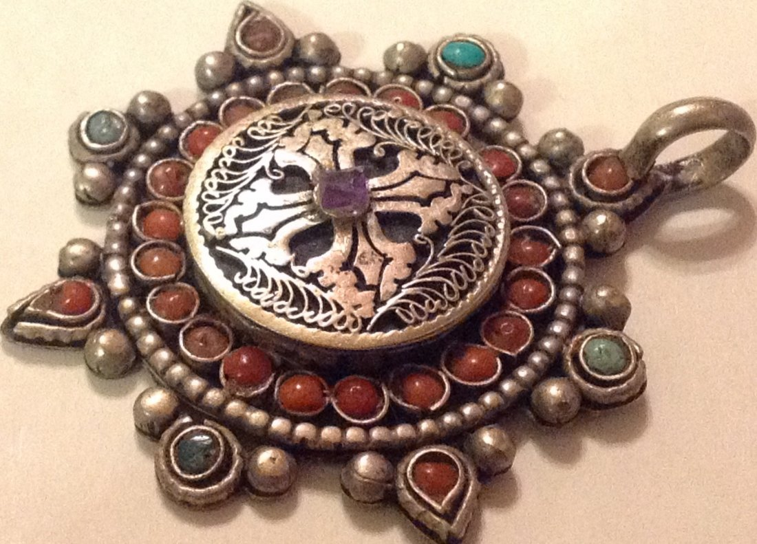 Estate Antique Mexico sterling turquoise coral pendant - 3