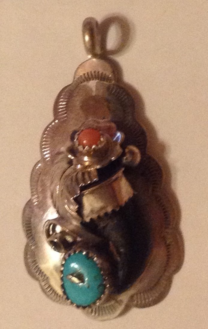 Estate Navajo sterling turquoise coral Claw pendant