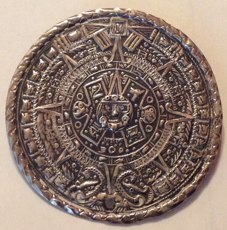 Estate Old Mexico sterling aztec style brooch.pendant