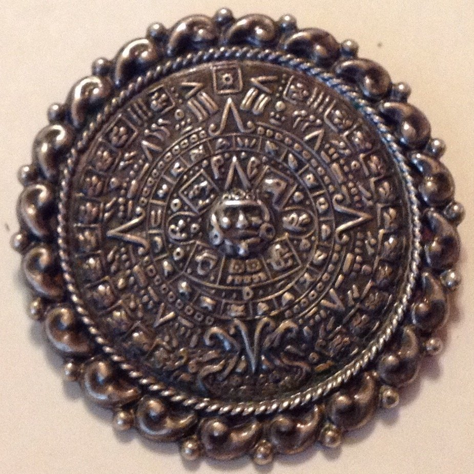Estate Old Mexico sterling aztec style brooch pendant