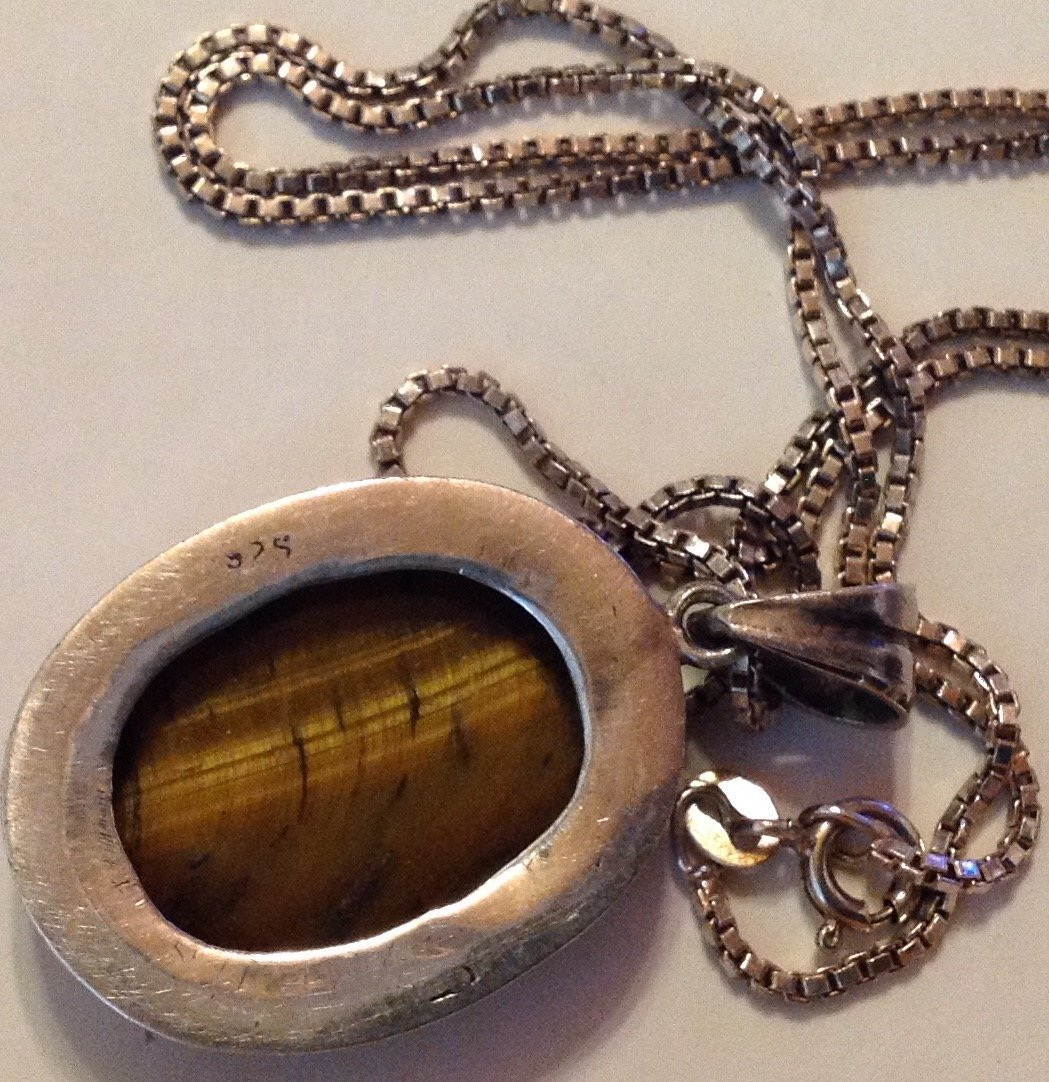 Estate Vintage sterling Tiger eye pendant necklace - 3