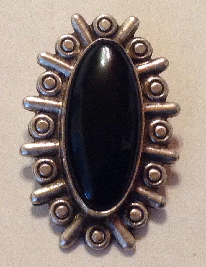 Estate Vintage Mexico sterling onyx large pendant