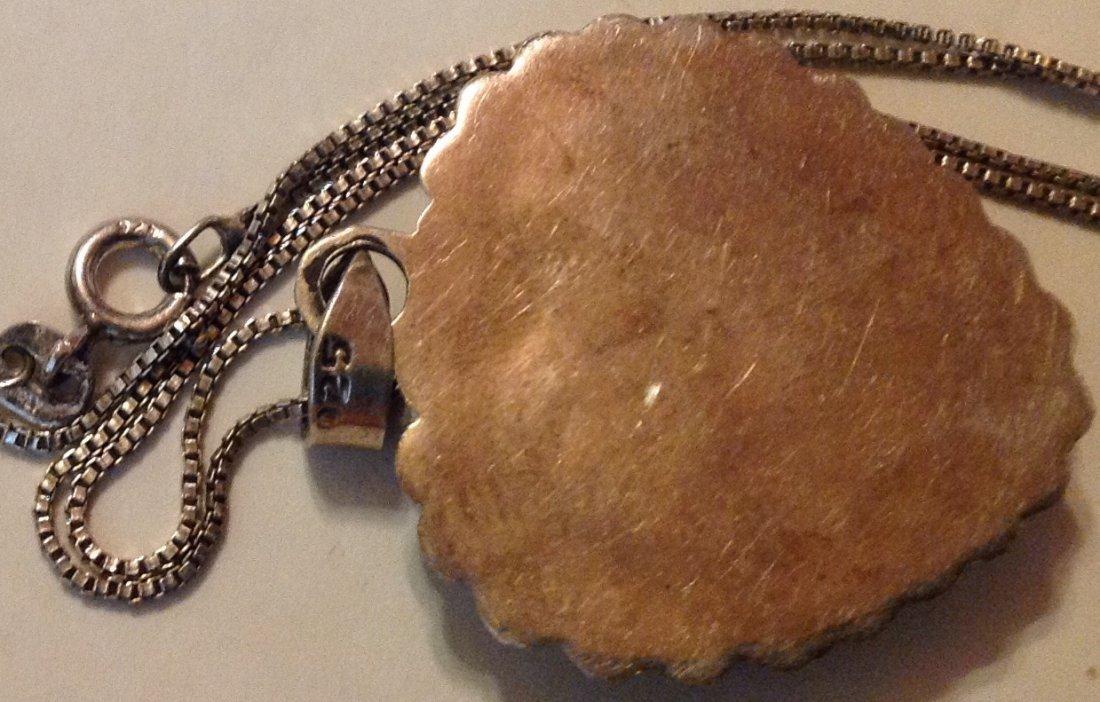 Estate Vintage Mexico sterling onyx large pendant - 3