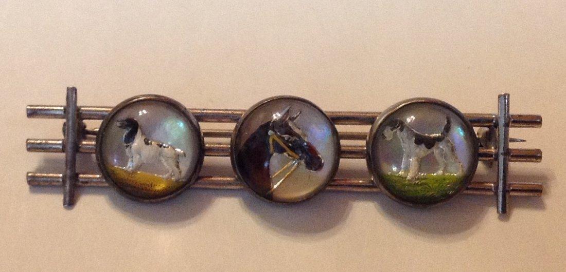 Estate Victorian sterling Essex crystal intaglio brooch