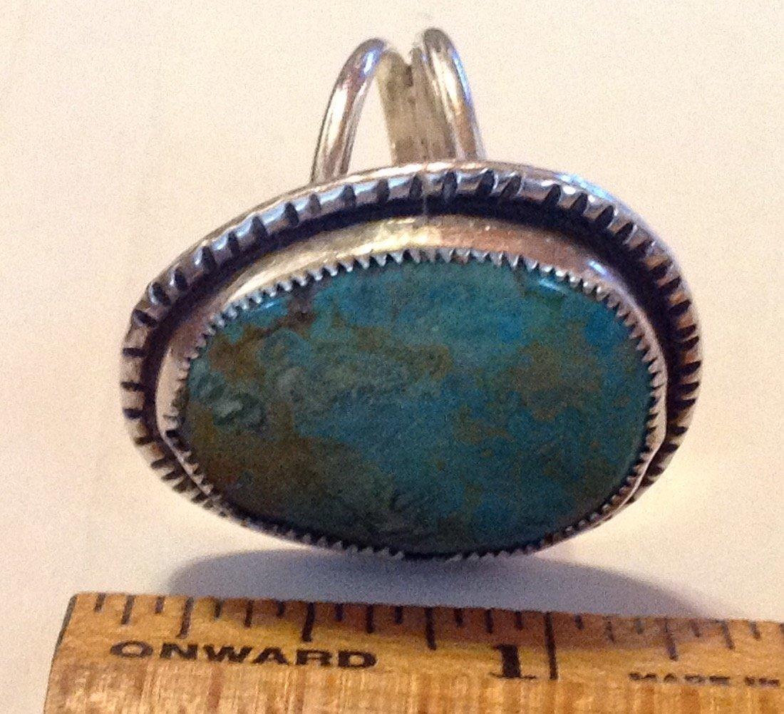 Estate vintage Navajo sterling royston turquoise ring - 2