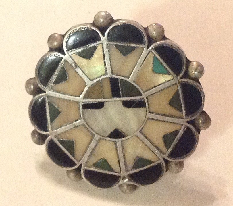 Estate Zuni sterling multi stone inlay ring
