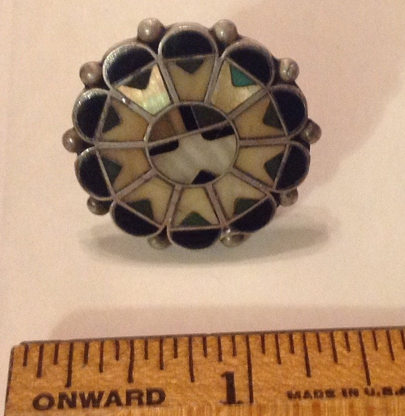 Estate Zuni sterling multi stone inlay ring - 2