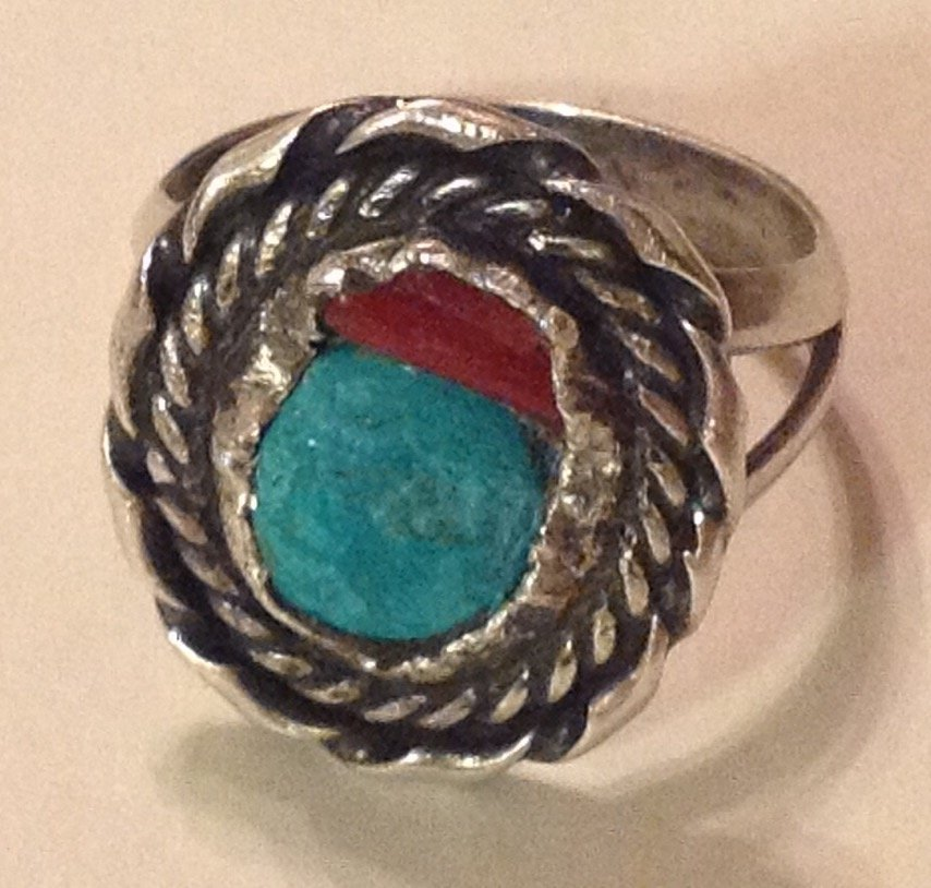 Estate native sterling handmade turquoise coral ring