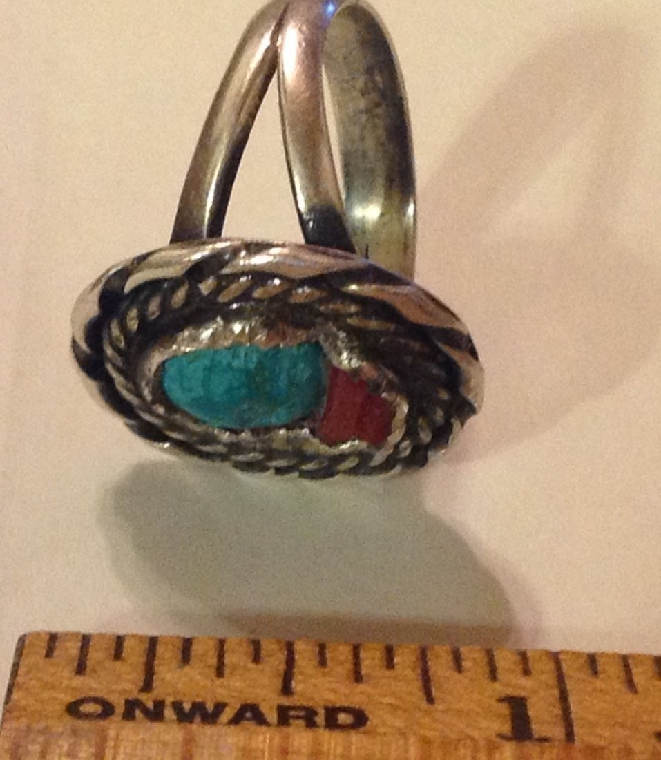 Estate native sterling handmade turquoise coral ring - 2