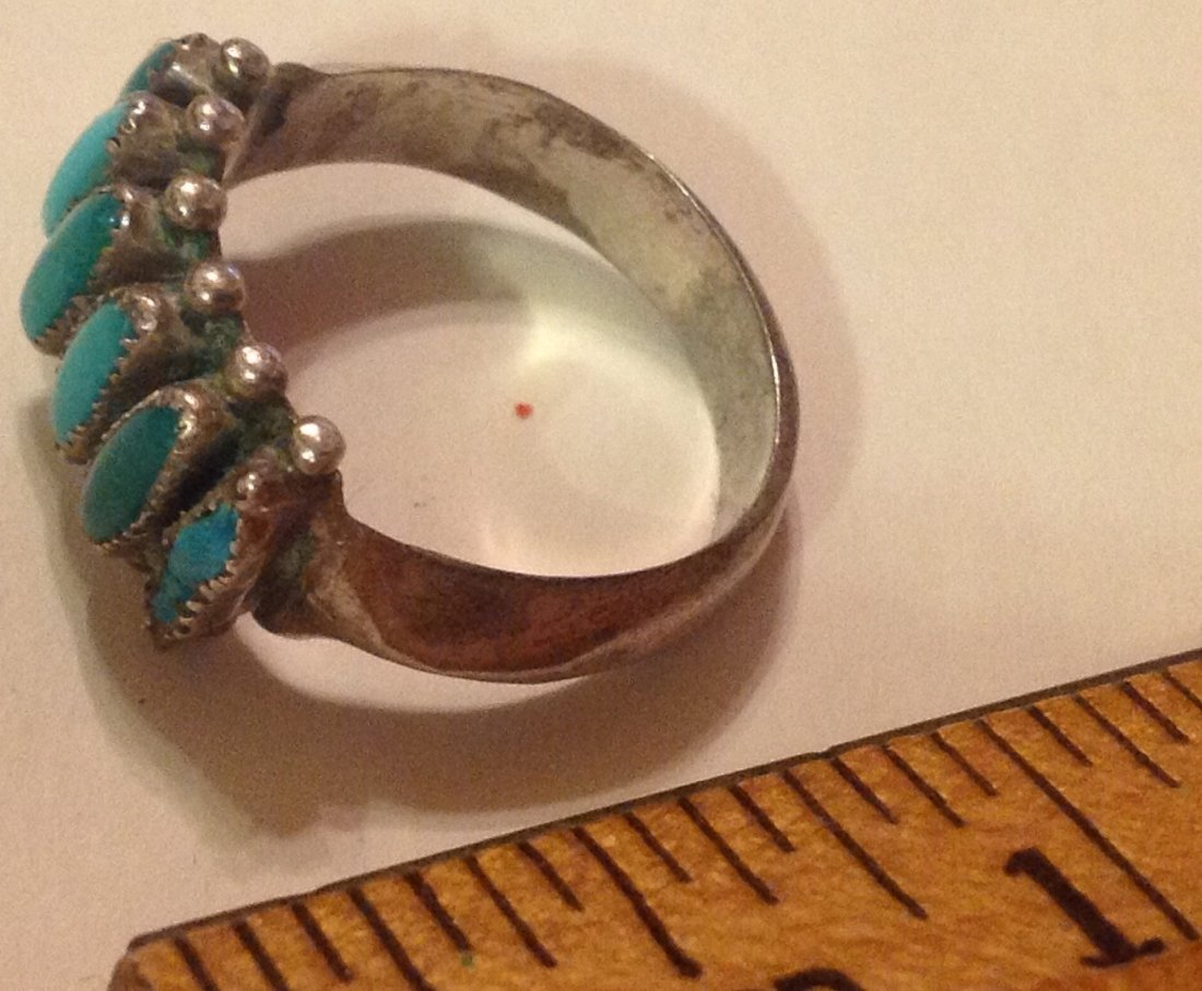 Estate native sterling turquoise petit point ring - 2
