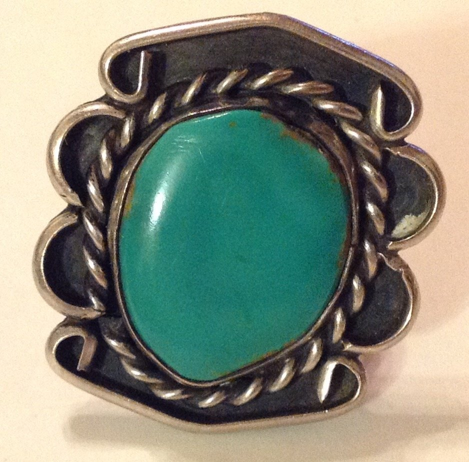 Estate native old pawn large sterling turquoise ring
