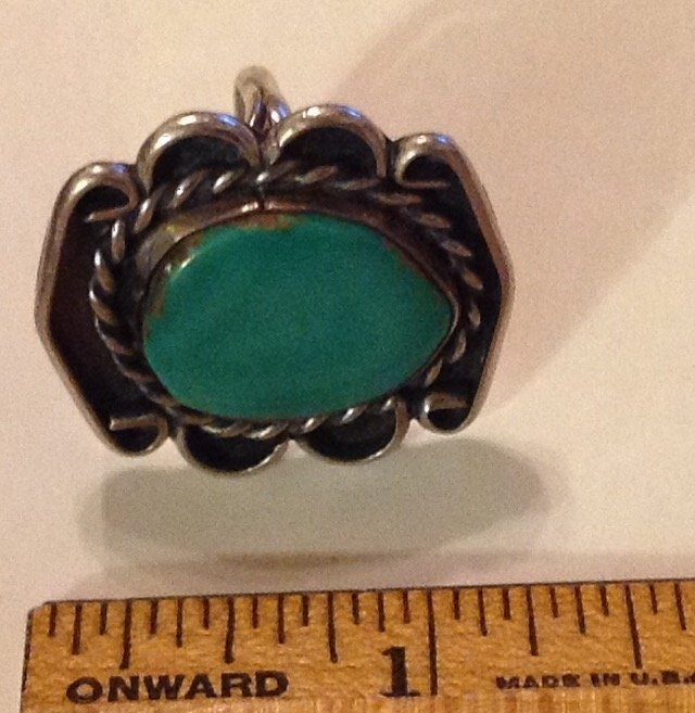 Estate native old pawn large sterling turquoise ring - 2