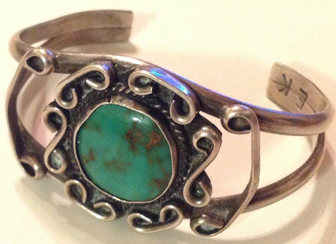 Estate Elliot Koinva sterling turquoise bracelet