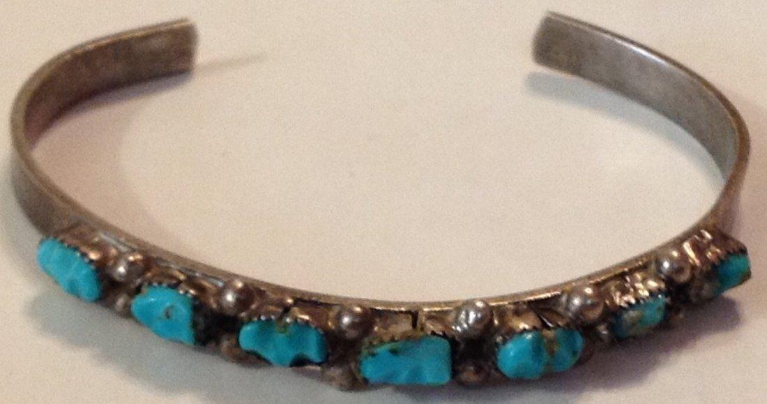 Estate Old Native sterling turquoise bracelet
