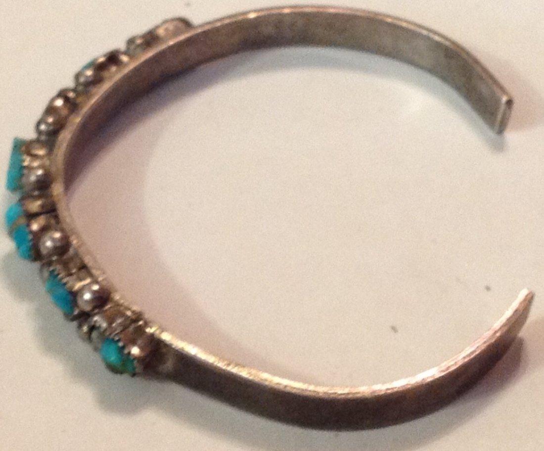 Estate Old Native sterling turquoise bracelet - 2