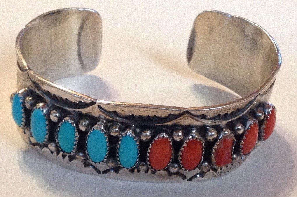 Navajo Rose Castillo sterling turquoise coral bracelet
