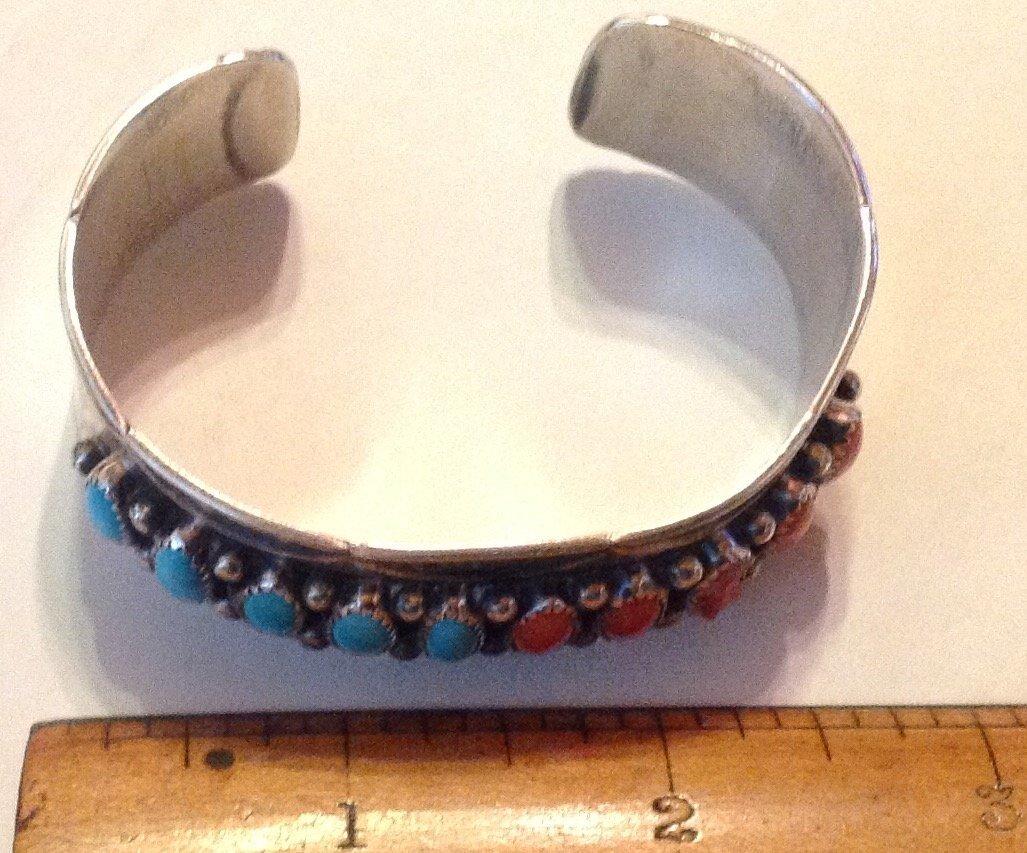 Navajo Rose Castillo sterling turquoise coral bracelet - 2