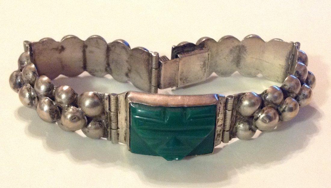 estate old Mexico Del Rio sterling green onyx bracelet