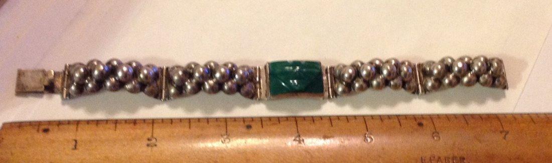 estate old Mexico Del Rio sterling green onyx bracelet - 2