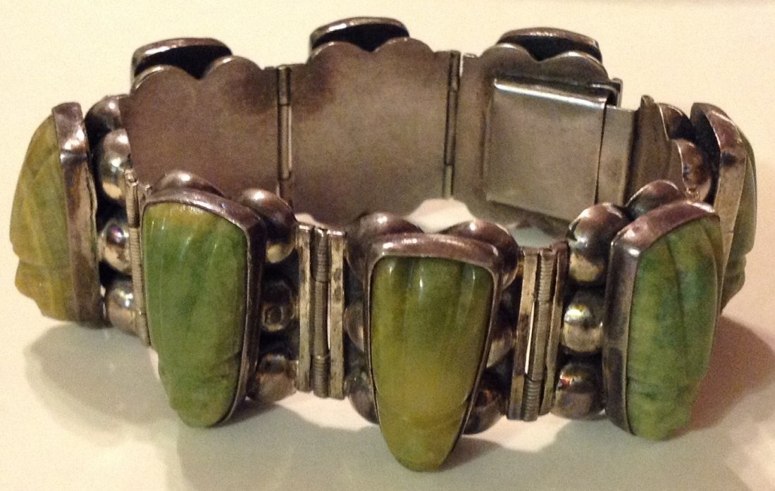 estate 1940s Mexico Sterling green jade heavy bracelet