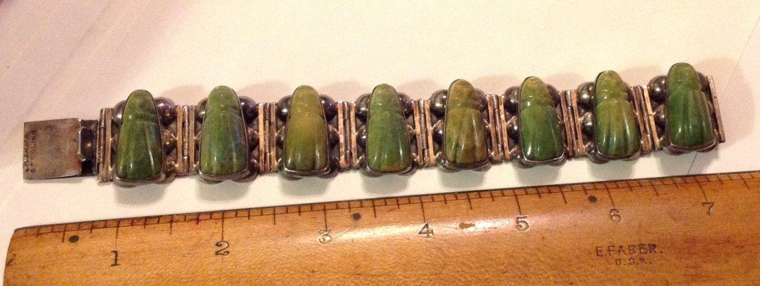 estate 1940s Mexico Sterling green jade heavy bracelet - 2