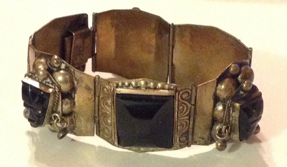 estate old Mexico silver onyx panel bracelet