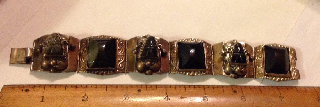 estate old Mexico silver onyx panel bracelet - 2
