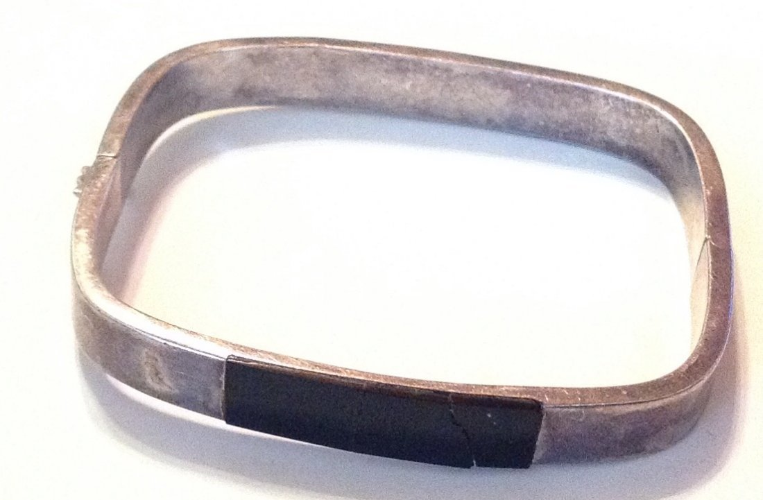 estate old sterling Onyx hinged bracelet