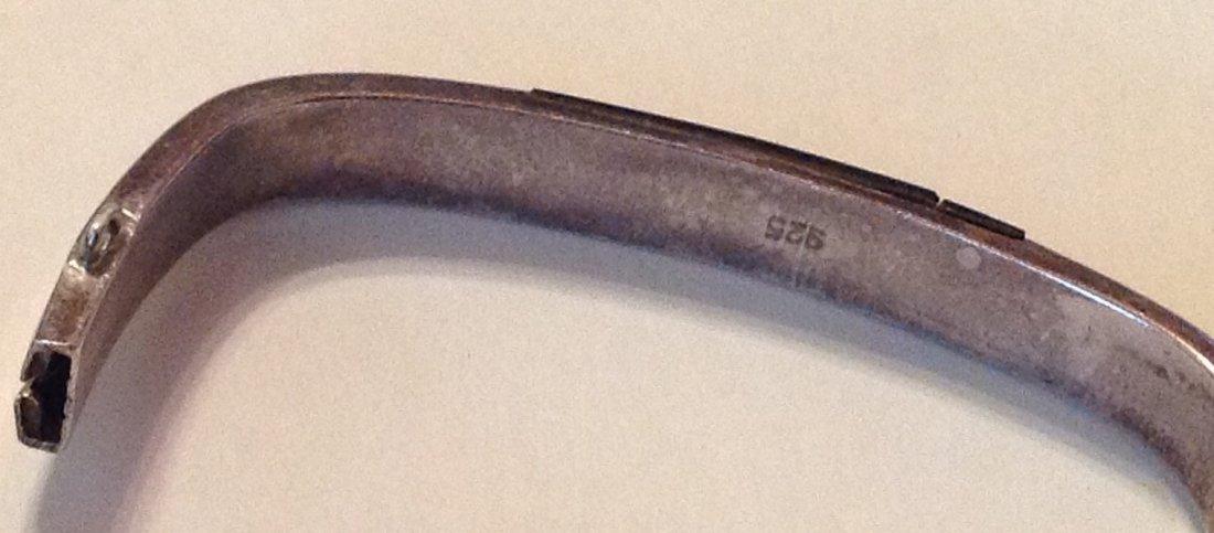 estate old sterling Onyx hinged bracelet - 3